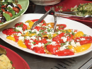 Georgia's tomato salad: Slice the tomatoes and arrange on a plate. Season and drizzle with olive oil. Serve with natural yoghurt and mint.