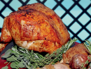 12 Remove the turkey breast from the bone and carve into desired portion sizes. Remove the legs from the oven and slice to serve.