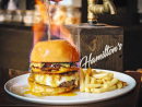 Hamilton's GastropubThis smart venue on Saadiyat Island is serving up a hearty burger with a fancy twist. The Hamilton's Flaming Burger features a beef patty topped with lettuce, onions, veal bacon, melted cheese, foie gras and spiced mayonnaise. There's a premium-beverage based sauce poured on top and set ablaze, as well. Now that's what we call making a dramatic entrance.Dh75. Saadiyat Rotana Resort & Villas, Saadiyat Island (02 697 0000).