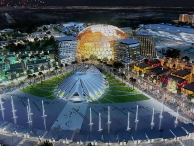 Stunning drone footage reveals Expo 2020 site taking shape