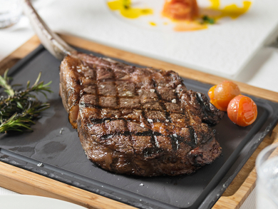 Couples can take on a massive 1.2kg tomahawk steak in Abu Dhabi this January