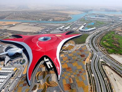 You can zipline from Ferrari World Abu Dhabi's iconic roof from March