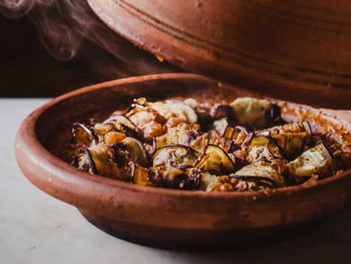 Recipe: Aubergine kefta tagine with mint yoghurt