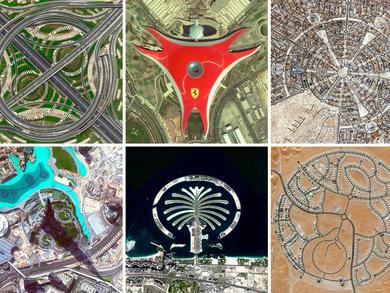Amazing birds-eye views of Abu Dhabi and Dubai attractions and sights